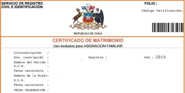 certificacion de matrimonio