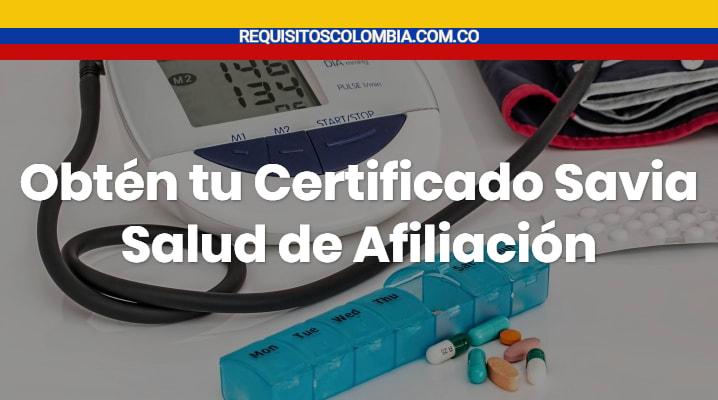 Certificado Savia Salud de Afiliación