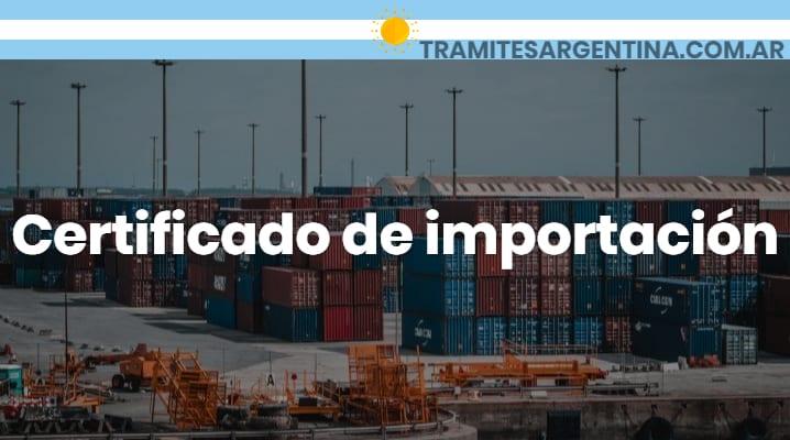 Certificado de importación