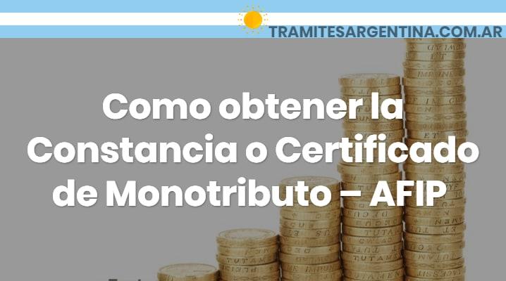 Certificado de monotributo