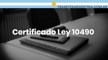Certificado Ley 10490