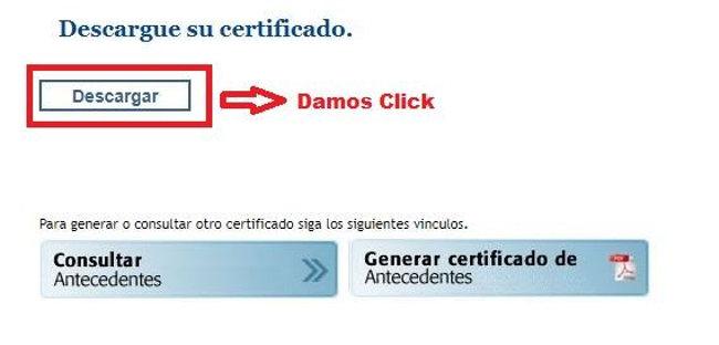 Paso 3 Descargamos el Certificado de antecedentes