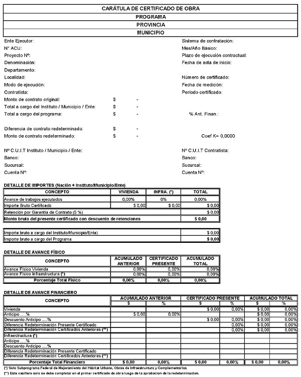 Certificado de obra modelo