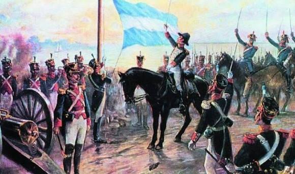 Certificado de promesa a la bandera argentina para imprimir belgrano y bandera