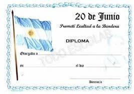 Certificado de promesa a la bandera argentina para imprimir modelo