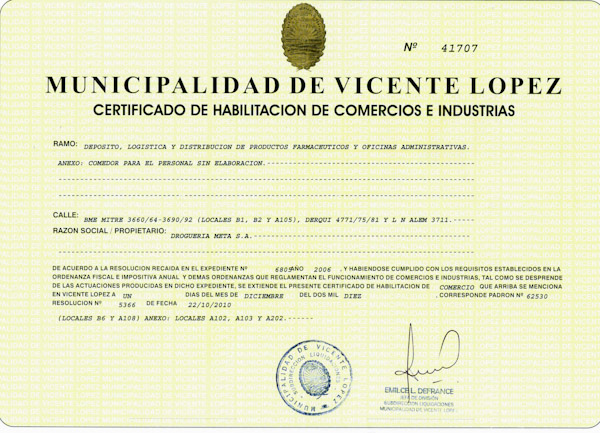 Certificado de Habilitación Municipal