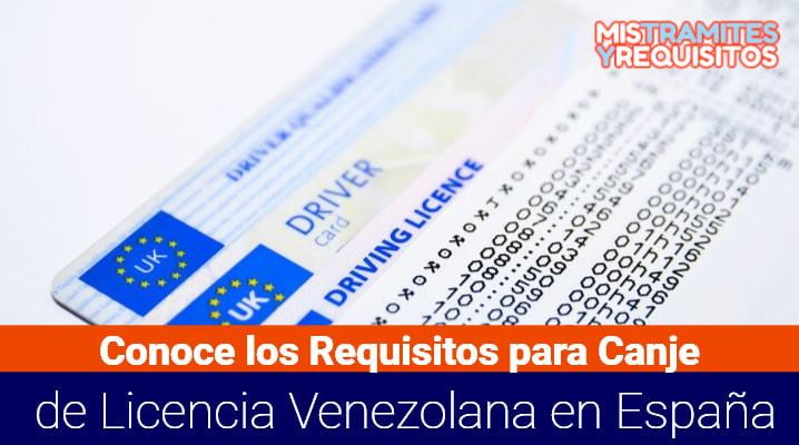 Requisitos para Canje de Licencia