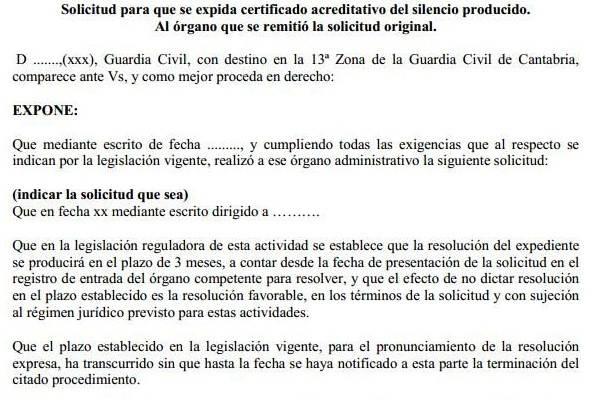 Certificado Silencio Administrativo modelo