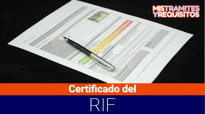 Certificado del RIF
