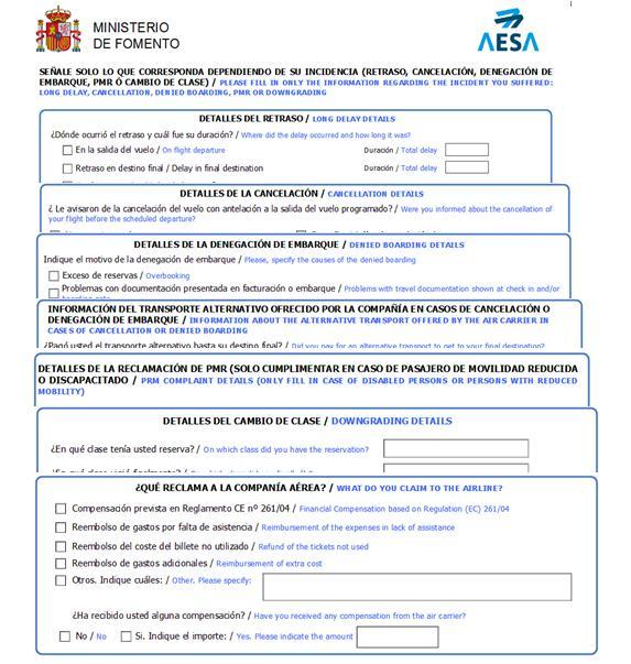 Formulario Reclamación AESA