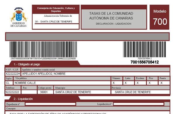 Formulario 700 Agencia Tributaria de Canarias