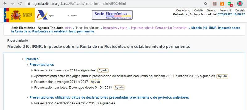 instrucciones formulario 210 hacienda 89