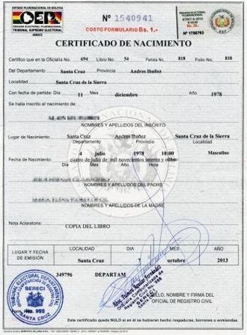 sacar Certificado de Nacimiento en Bolivia