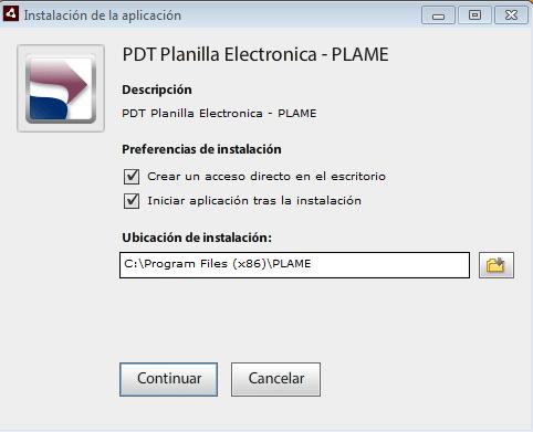 Instalar el PDT PLAME
