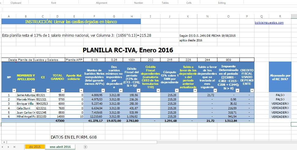 Calcular RC IVA 2016 con planilla tributaria - Bolivia Impuestos Blog