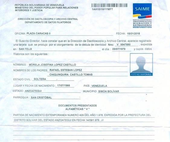 Requisitos para Datos Filiatorios en el SAIME
