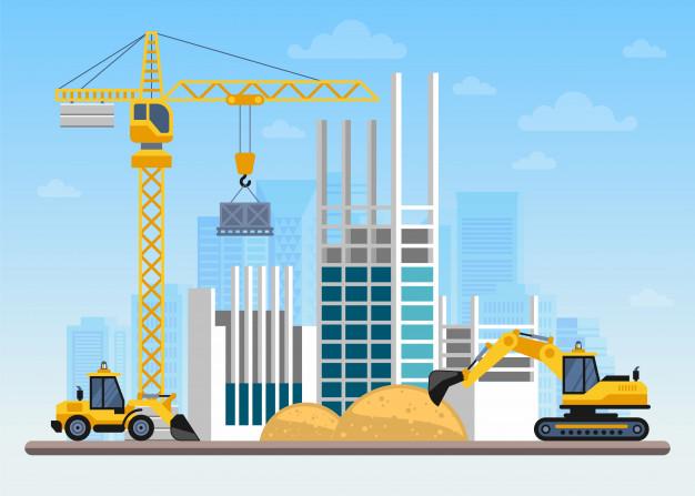 Obra de construcción construcción de una casa con grúas y ...