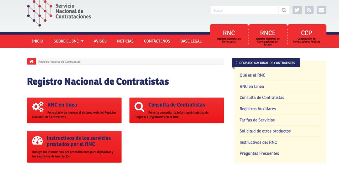RNC EN LÍNEA: REGISTRO NACIONAL DE CONTRATISTAS