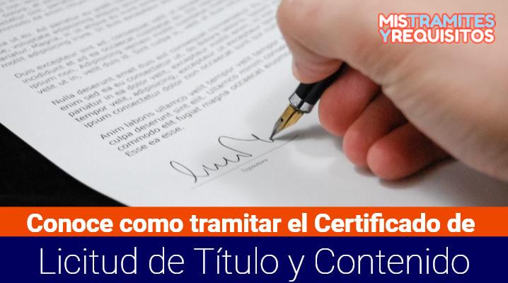 Certificado de Licitud de Título y Contenido