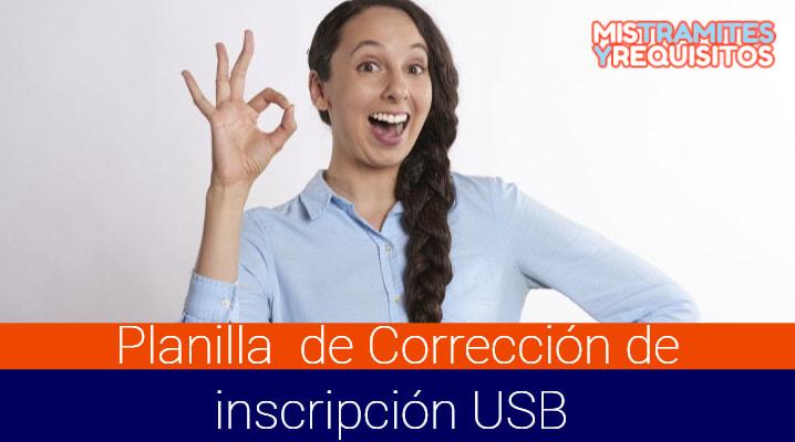 Planilla de Corrección de inscripción USB