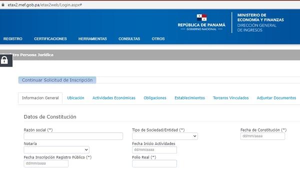 Formulario de inscripción de RUC Panamá