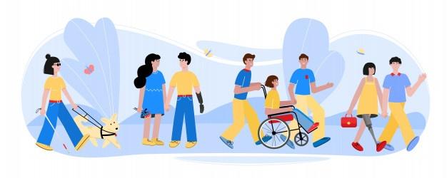 Personas con discapacidad caminando con amigos en la naturaleza de ...