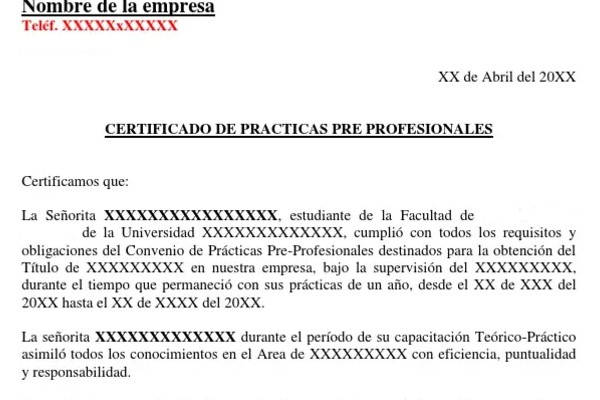 Certificado de Prácticas Pre Profesionales ejemplo