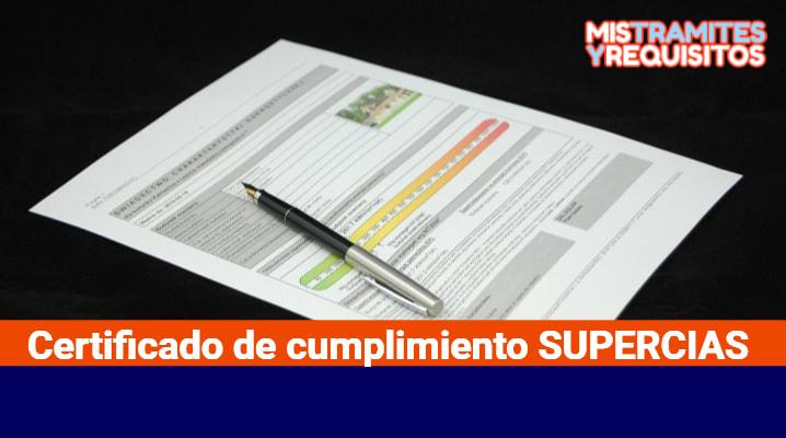 Certificado de cumplimiento SUPERCIAS