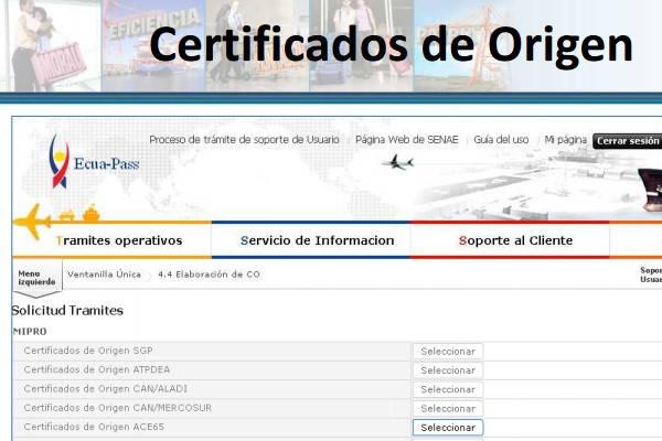 Certificado de origen Ecuador ejemplo