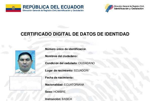 Certificado digital de datos de identidad certificado