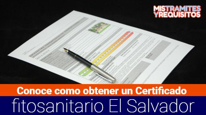 Certificado fitosanitario El Salvador