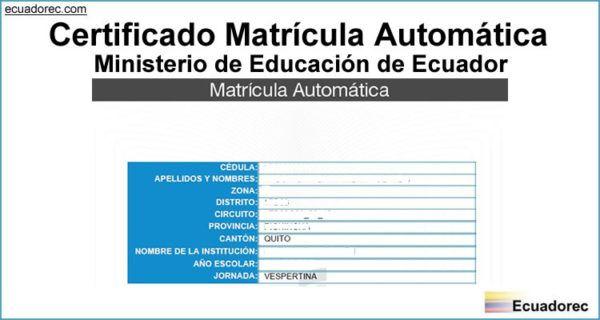 Certificado Matrícula Automática |2019| Imprimir Comprobante de Matrícula | Ministerio de educacion, Información del estudiante, Matrículas