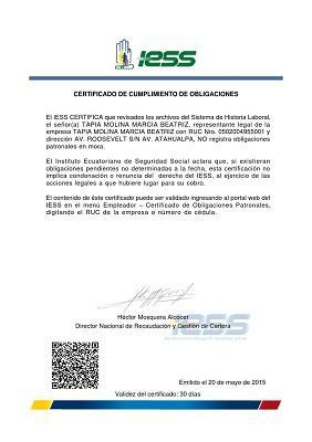 certificado de obligaciones patronales ecuador