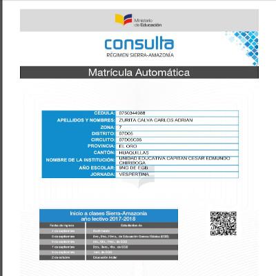 Certificado de inscripción matricula automática - MinEduc 2020 brenp