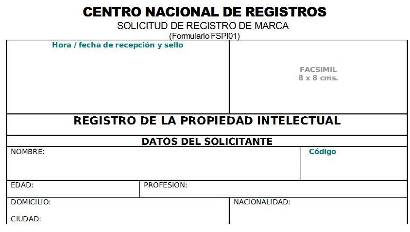 Formulario para registro de una marca en El Salvador