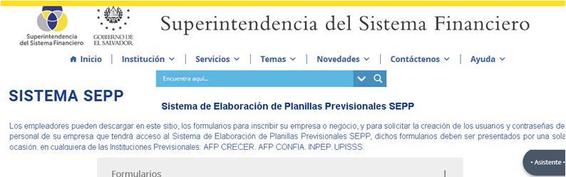 Formulario para el registro de empleadores al SEPP